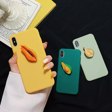 3D Cute Cartoon Phone Case For iPhone X XS Max XR Silicone Case Durian Avocado Papaya Fruit Case For iPhone 6 6s 7 8 Plus Cover