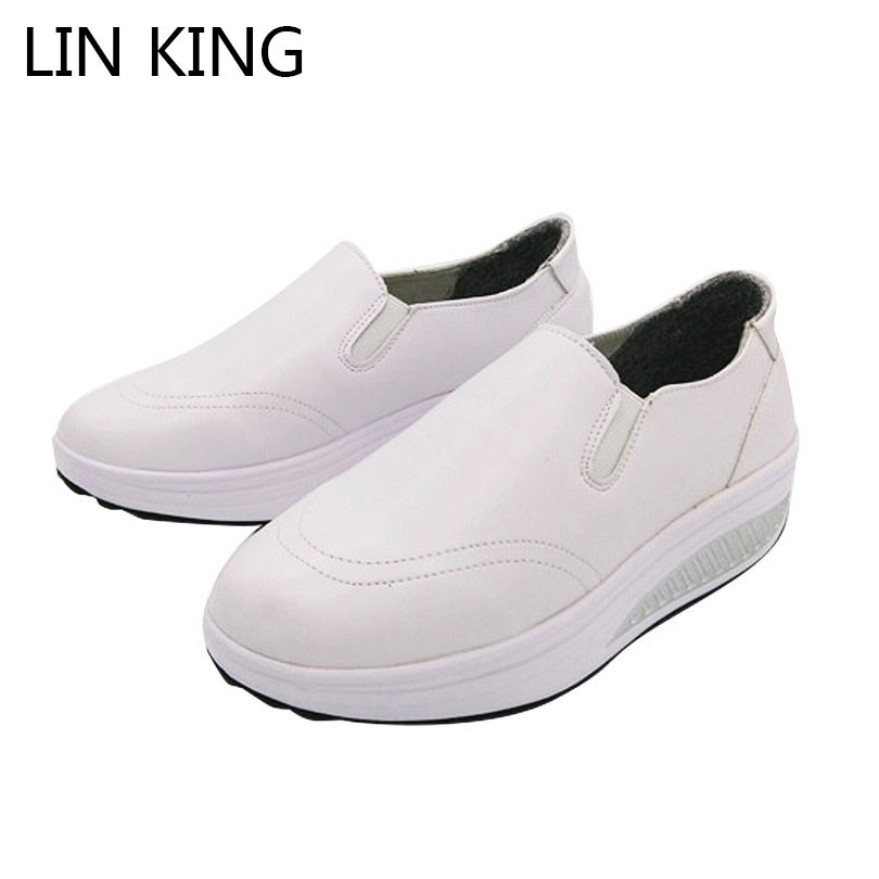 LIN KING New Comfortable Women Swing Shoes Breathable PU Leather Height Increase Fashion Nurse Shoes Slip On Slim Elevator Shoes
