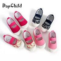DapChild Kids Shoes For Girl Summer Kids Canvas Sneaker Elastic Band Children Floral Shoe Girls Sport