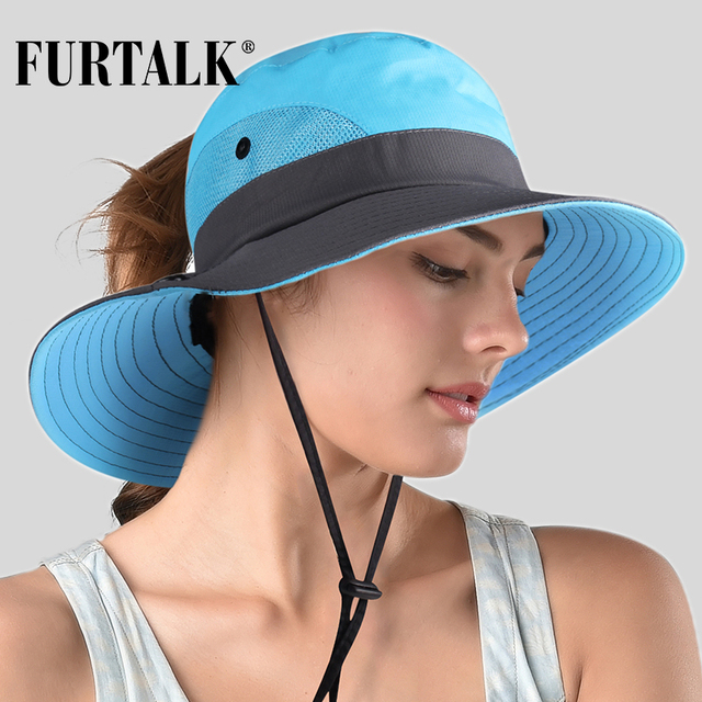 FURTALK Safari Hats for Women Summer Sun Wide Brim UV UPF Ponytail Outdoor Hunting Fishing Hiking Hat SH053