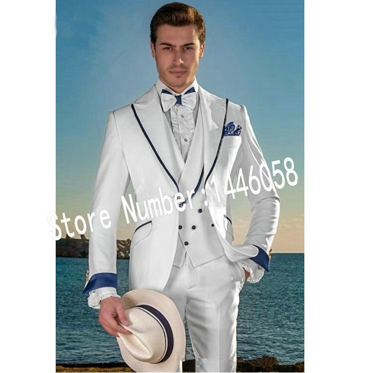 2019 Latest Coat Pants Designs Summer Beach Men Suits White Suits For Wedding Tuxedos Slim Fit Groom Best Men Male Suit 3 Pieces