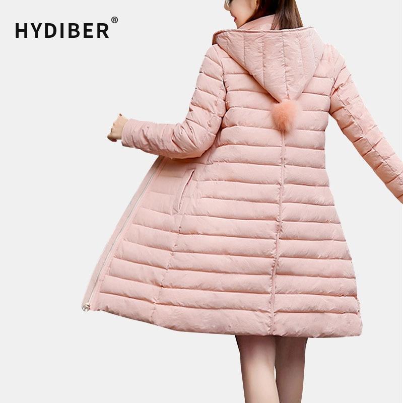 ФОТО Plus Size 2016 Winter Long Cotton Padded Women Coat Slim Thick Wadded Fur Ball Hooded Jacket Parkas Warm Outerwear Women's Tops