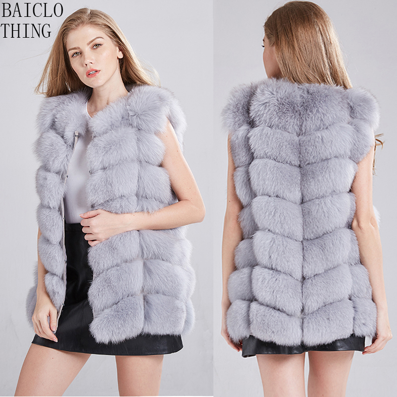 High Quality 100% Real Fox Fur Vest Women's Beautiful Natural Fur Jacket. Winter Warm Fur Coat Genuine Leather Jacket Coats