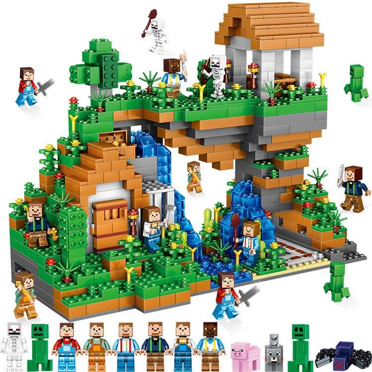 2018The Village Cascade Ensemble 957 pièces Briques Compatible Legoing Minecrafted Village Modèle blocs de construction Garçon D'anniversaire Cadeaux Jouet