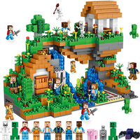 2018The Village Waterfall Set 957 Pcs Bricks Compatible Legoing Minecrafted Village Model Building Blocks Boy Birthday Gifts Toy