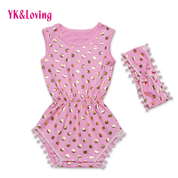 Pink Baby Romper Polka Dot Golden Baby Girl Clothing 2Pcs Jumpsuit With Headband Infantil Clothes For