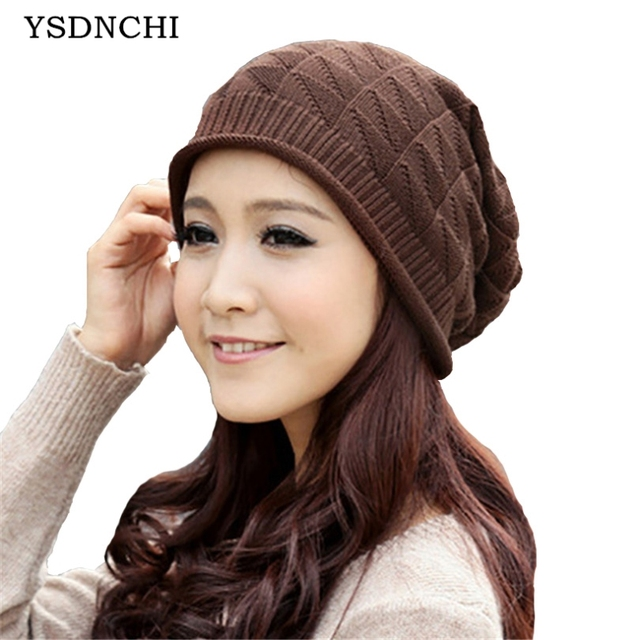 23969826336 YSDNCHI Warm Plaid Stripe Benies Women Crochet Unisex 2017 Beanie Knitted  Comfortable Ski Cap Oversized Slouch Hat High Quality