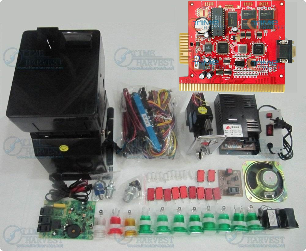 1 set Solt game kit Gaminator 5 in 1 PCB Coin hopper coin acceptor Power supply . etc same as the photo for casino game machine 220v 6 holes coin token hopper for coin changer machine vending machine game machine