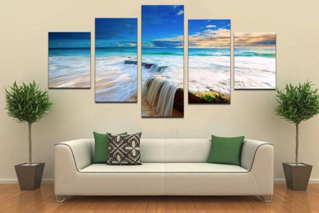 5 panels meer wasserfall moderne kunst leinwand wandgemälde bilder ... - Bilder Furs Wohnzimmer Modern
