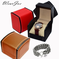 Luxe Kunstleer multi-color Reizen Mens Polshorloge Opbergdoos Horloge Bangle Armband Ketting Display Verpakking Kist Houder