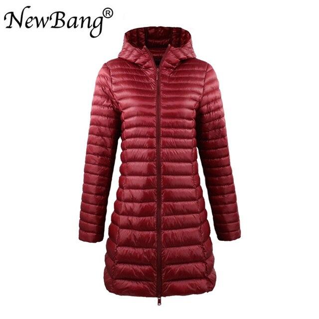 NewBang marca mujeres abajo Chaquetas Mujer largo invierno cálido abrigo  mujer Ultra ligero abajo chaqueta con 057b4675417a