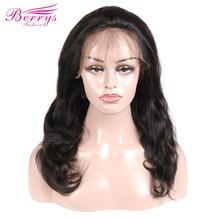 "[Berrys אופנה] גוף גל 130% 180% צפיפות תחרה מלאה שיער טבעי פאות שיער טבעי עם תינוק שיער 12  24 ""טבעי Colo"