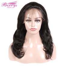 """[Berrys Fashion] Body Wave 130% 180% Density Full Lace Human Hair Wigs Natural Hairline With Baby Hair 12 24"""" Natural Colo"""
