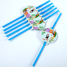 10Pcs\Lot Jungle Animal Theme Straw Disposable Tableware Birthday Party Decorations adult Baby Shower Supplies