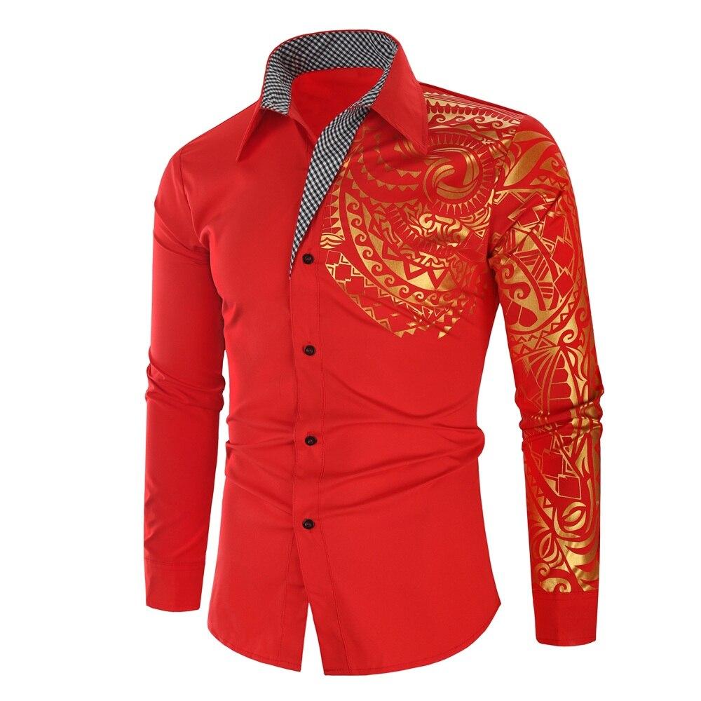 Luxury Gold Black Shirt Men New Slim Fit Long Sleeve Camisa Masculina Gold Black Chemise Homme Social Men Club Prom Shirt 8