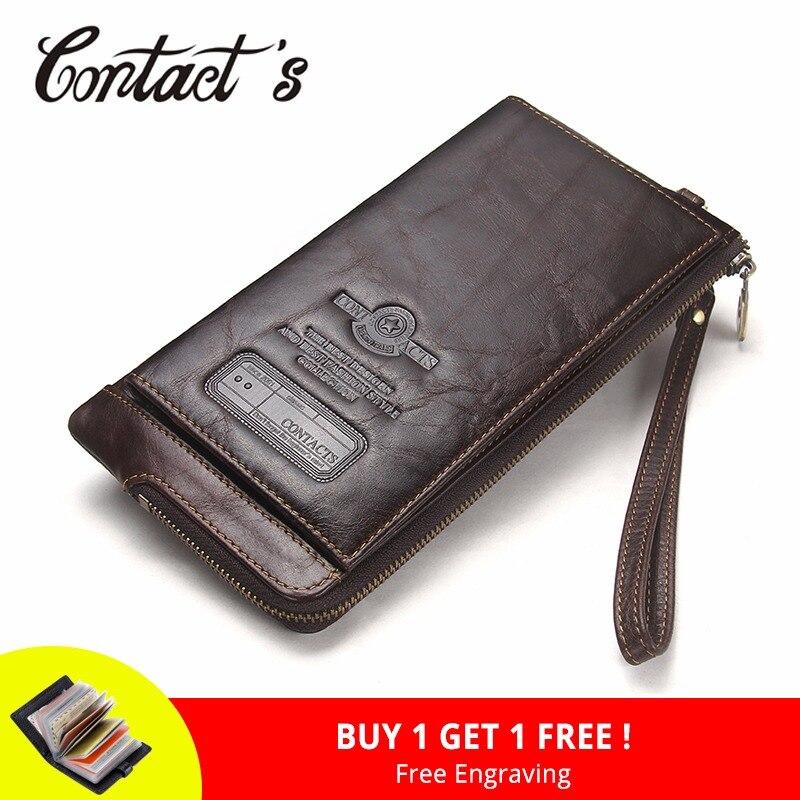 2018 גברים ארנק מצמד אמיתי עור מותג Rfid ארנק זכר ארגונית טלפון סלולרי מצמד תיק ארוך מטבע ארנק משלוח לחרוט