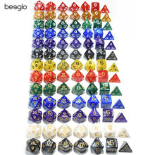 Polyhedral 7-Die Dice Set for Dungeons and Dragons RPG Dice Game (d4, d6, d8, d10, d%, d12, d20)(China)