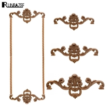 Фотография RUNBAZEF Woodcarving Flower Applique Wood Antique Floral Carved Lintel Patch Bed Cabinet Background Wall Floor Empty  Embossed