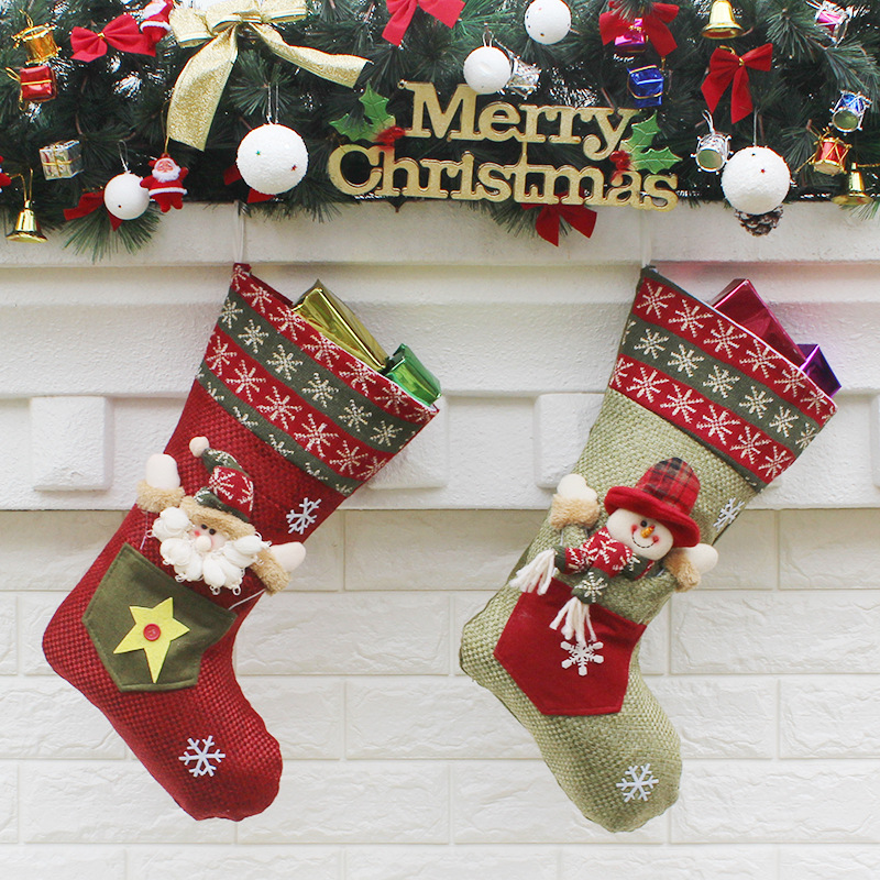 2017 New Christmas Socks Gift Bags Party Doors and windows Decoration Santa Claus Snowman Action Figures Toys Gift For Children