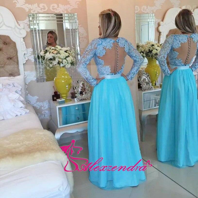 Alexzendra Long Sleeves Lace   Prom     Dresses   2018 Appliques Pearls Robe De Soiree longue 2018 Formal Evening   Dress   Plus Size