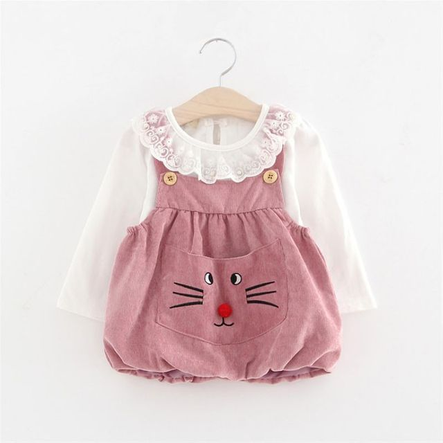 2017 New Spring Autumn Long Sleeve Lace Collar Baby Girls Kids Tops T-shirt+Infants Cartoon Overalls Dress Vestido 2pcs S4658