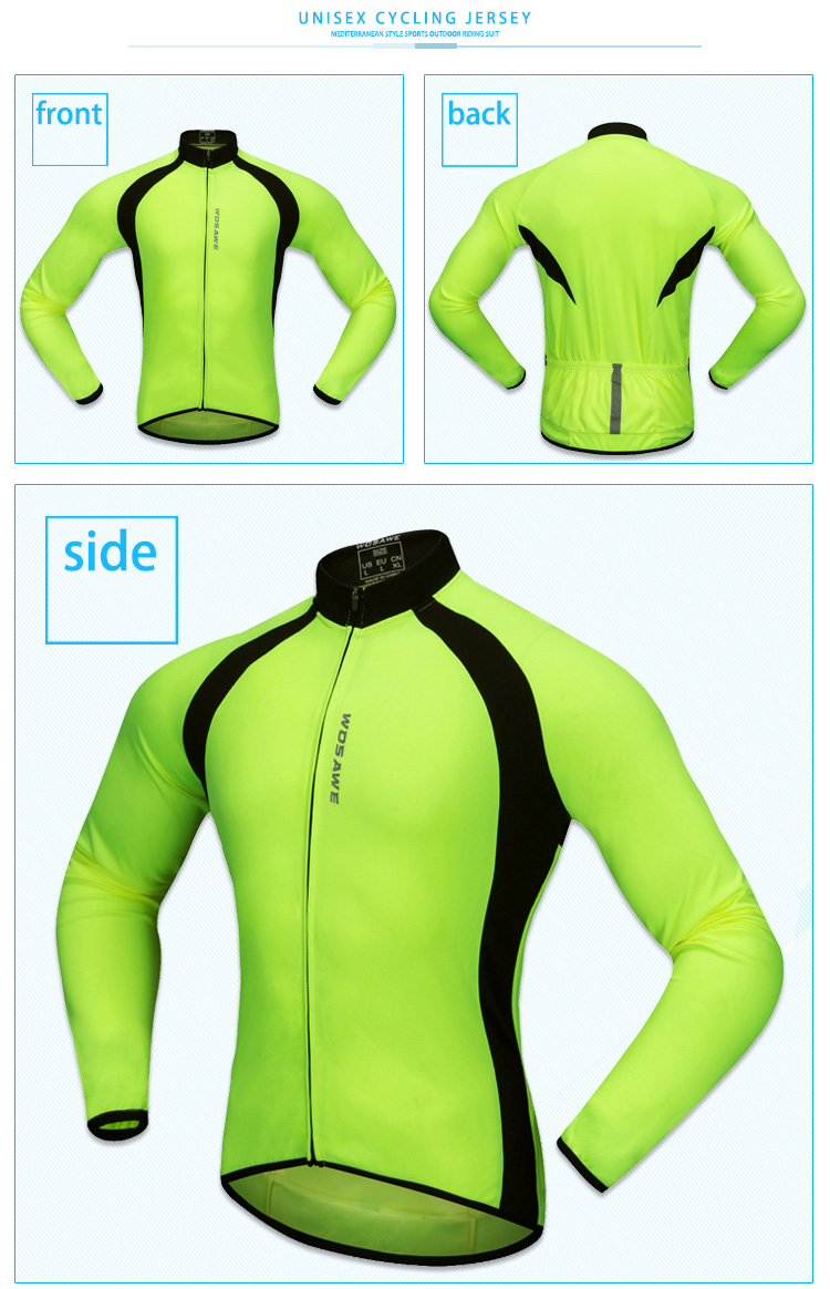 WOSAWE Thin Long Sleeve Cycling Jersey Men Outdoor MTB Sports Jackets Road Bike  Cycle Running High Visibility Riding Sportswear 62a346c14
