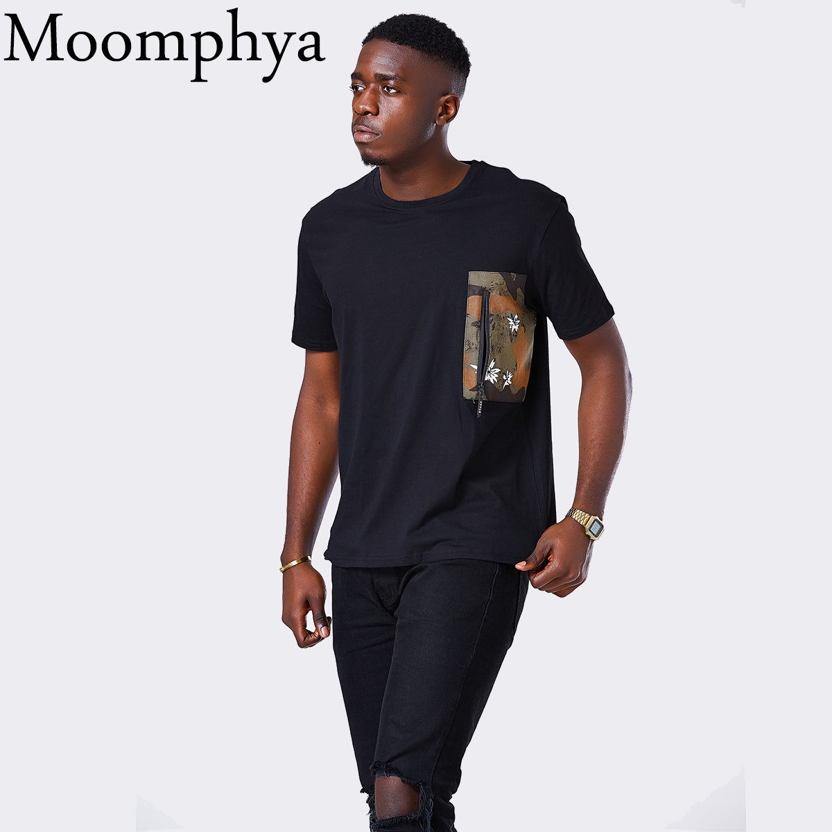 Moomphya Men   t     shirt   Camo Pocket Zip men tshirt Patchwork camouflage pocket hip hop Streetwear   t  -  shirt   men tee   shirt   homme