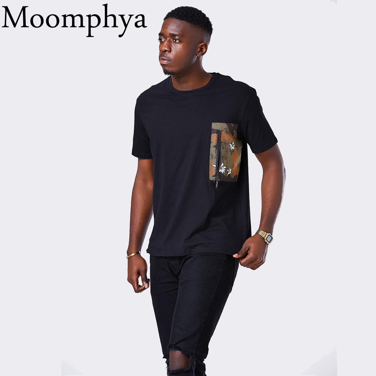 Moomphya Men t shirt Camo Pocket Zip men tshirt Patchwork camouflage pocket hip hop Streetwear t-shirt men tee shirt homme