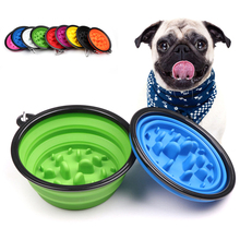 Portable Pet Dog Cat Bowl 1000ML Slow Food Folding Outdoor Water Dual-use