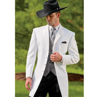 New men's suit white suitgroom wedding suit wool blended (coat and pants)
