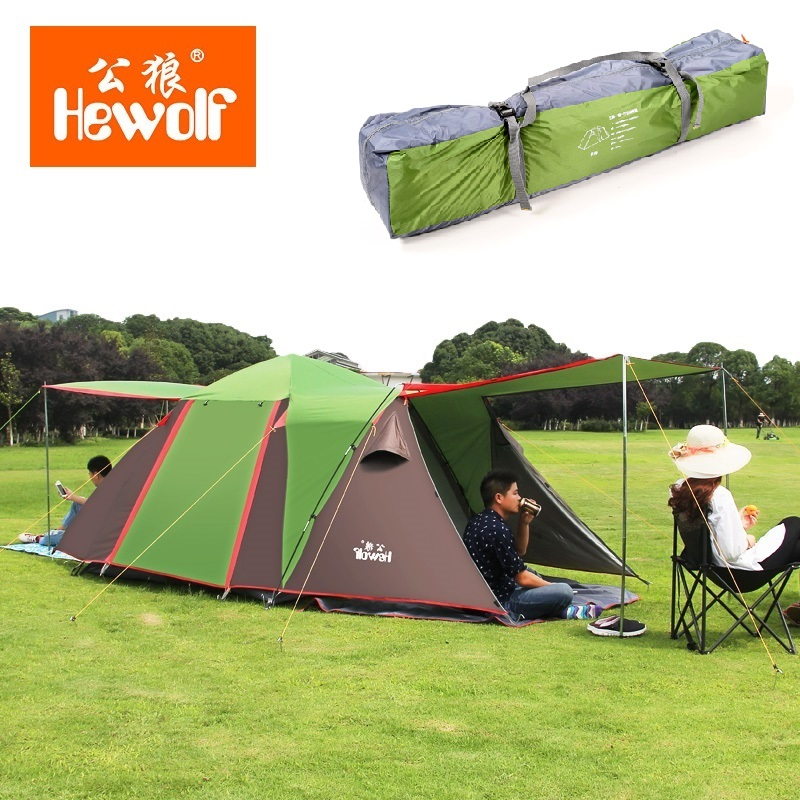 Outdoor camping hiking automatic camping tent 4person double layer family tent sun shelter gazebo beach tent awning tourist tent new arrival fully automatic two hall 6 8 person double layer camping tent against big rain large family outdoor tent 190cm high
