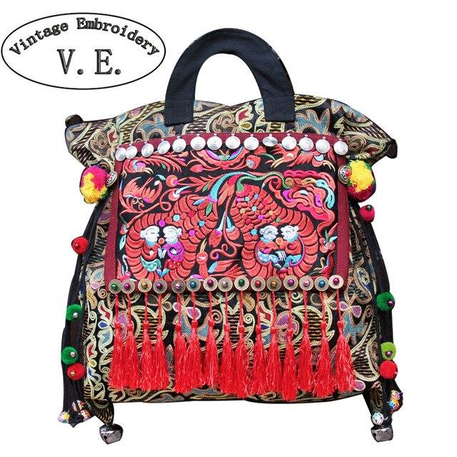 Vintage Embroidery Women Shoulder Bag Ethnic Thailand Original Canvas Tassel Messenger Bags Travel Tote Handbag Bolsa Feminina