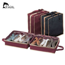 FHEAL Portable Folding Shoes Storage Bag Travel Tote Zipper Pouch Ventilation Folding Portable Gym Waterproof Organizer