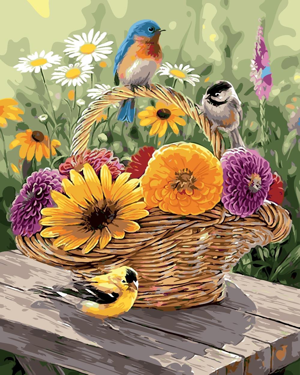 Aves y flor pintura al óleo de dibujo por números decoración del ...