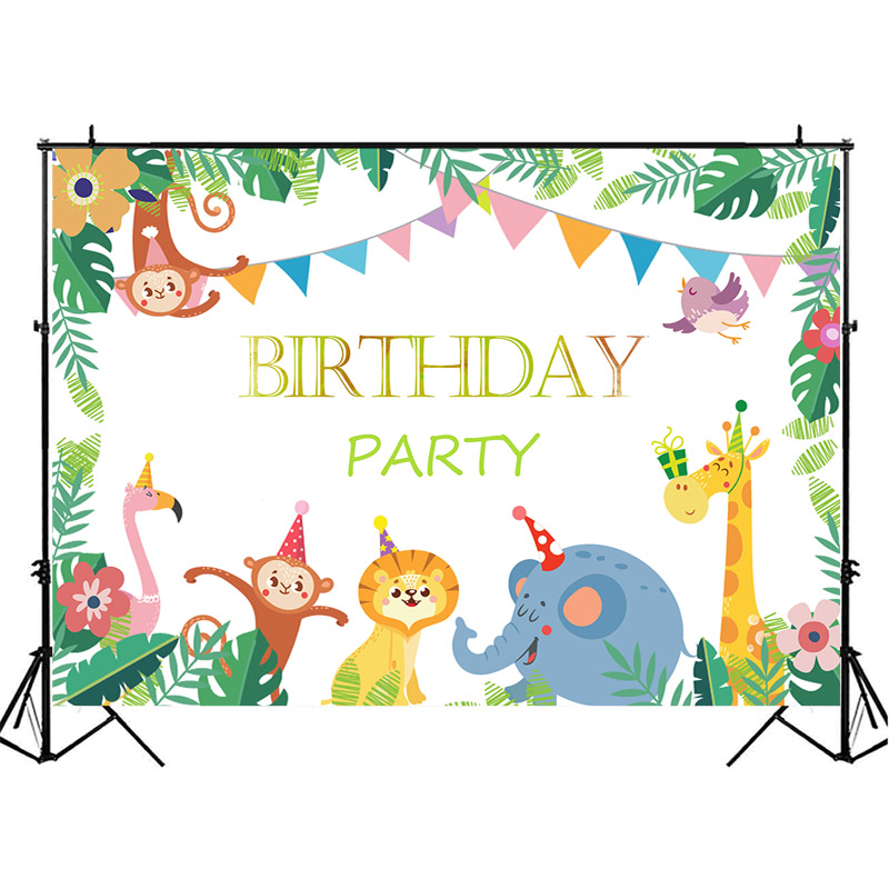 Neoback Jungle Safari Birthday Backdrop Cartoon Animal Child 1st Photography Background Happy Party Backdrops