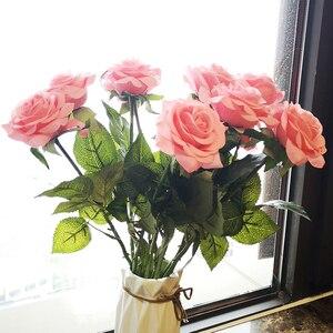 Image 4 - 12 pz/lotto Fiori Artificiali Fiori di Seta Real Touch Rose Fiori Bouquet di Nozze A Casa Del Partito di Falsificazione Fiori Decor Rose Rifornimenti Del Partito
