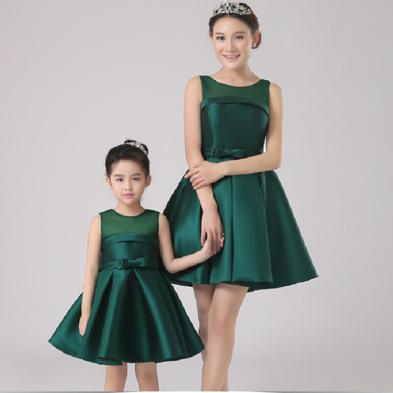 Mother & Daughter Dresses Solid Sleeveless Flower Girl Dress for Wedding Party graceful sleeveless pointelle solid color dress for women