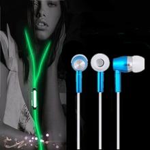 Glow in the dark earphones Metal In ear Earpiece Luminous Earphone with Microphone Hands free for