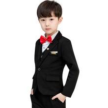 цена на Boy Weddings Formal Dress Costume Enfant Garcon Mariage Boys Blazer Garcon Kids Black Suits Prom Party Clothes Z9