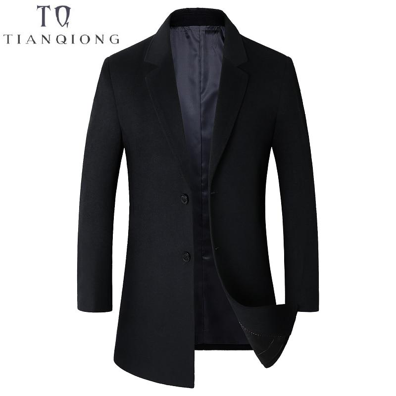 2018 Autumn Winter New Long Wool Coat Plus Velvet Thick Warm Fashion Casual Men's Lapel Two Buckles Slim Coat Black Gray Blue