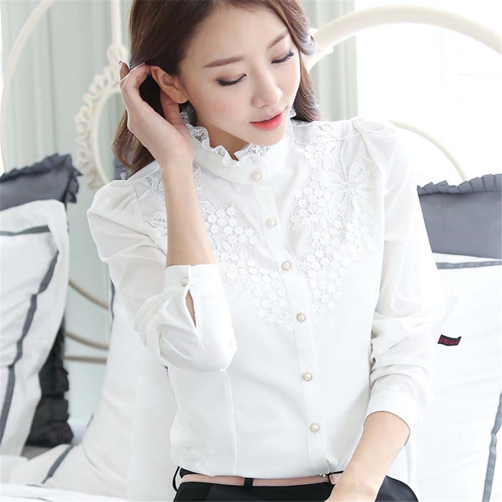 Stand collar top women plus size   shirt   Embroidery lace long sleeve white   blouse     shirt   women's casual loose   blouses   mujer 2019