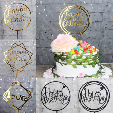 Acrylic Glittery Happy Birthday Cake Topper Calligraphy for Kids Party First 1st