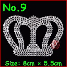 3 pcs/Lot Hot Sale Crown White motif hot fix rhinestone,heat transfer design iron on motifs patches,Diy Accessories applique