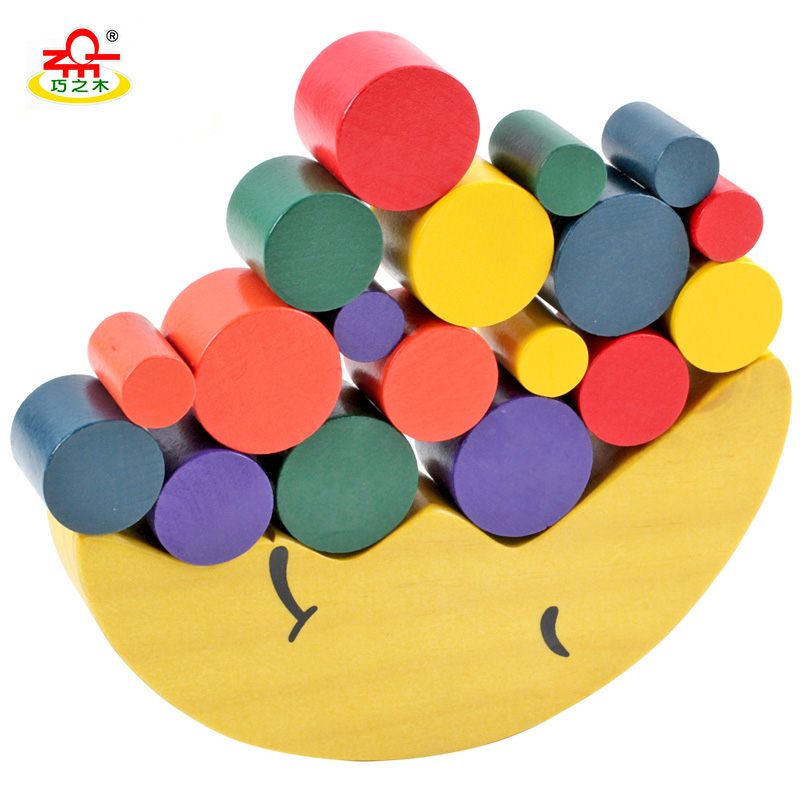 QZM Montessori Educational Wooden Toys for children Moon Shape Balance Beam Geometeic Assembling Blocks for Kids Wood wooden magnetic tangram jigsaw montessori educational toys magnets board number toys wood puzzle jigsaw for children kids w234