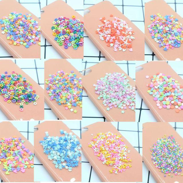 100 gramo/lote kawaii estrella corazón flor Minnie arcilla chispas ampliamente utilizado para la decoración del teléfono DIY