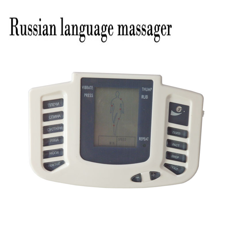 Russian language new body healthy care muscle relax electronic pulse therapy relief stimulator body massager