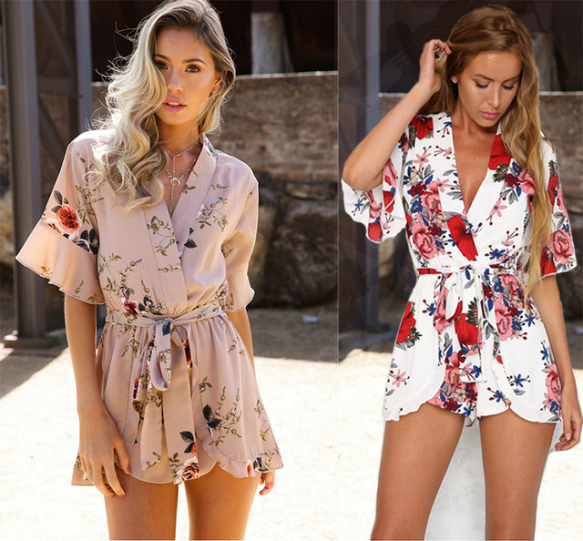 595cb3d5f5 Boho Red Floral Print Ruffles Playsuits Women Elegant Autumn White V Neck  Jumpsuits Rompers Sexy Beach Girls Short Overalls