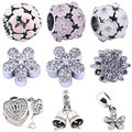Luxury AAA Crystal Beads for Jewelry Making Flower Charms 100% 925 Sterling Silver Bead fit for Pandora 1 Piece DIY Accessories