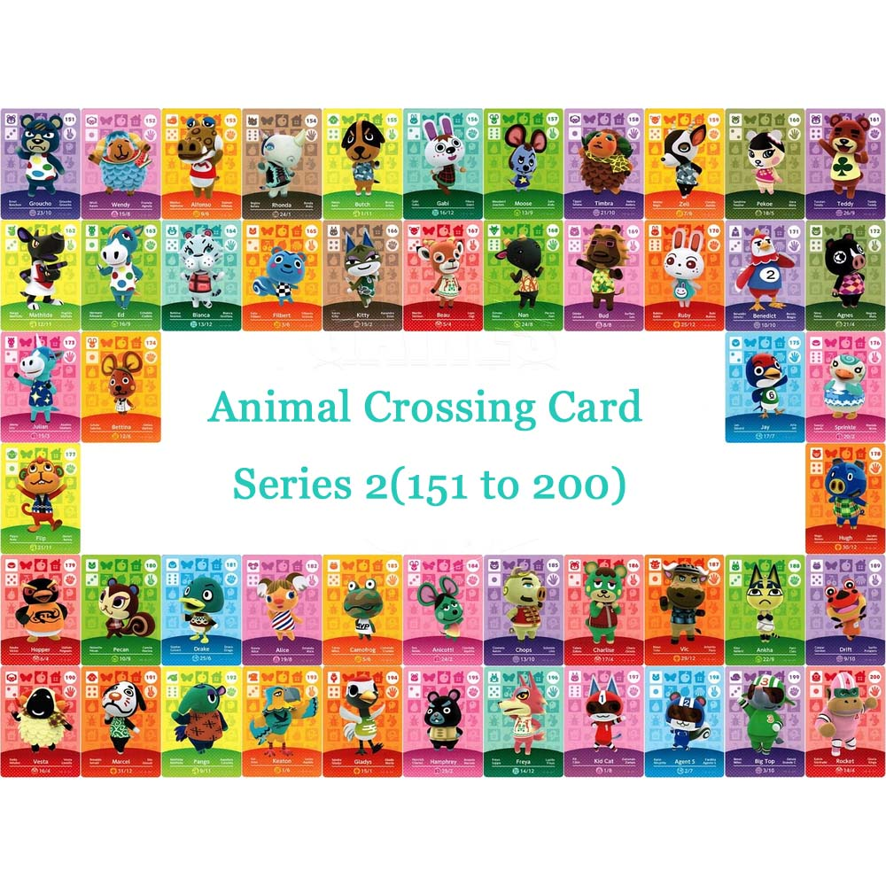 Animal Crossing Card NTAG215 Printed NFC Card Compatible Series 2 (151 To 200) Pick From The List