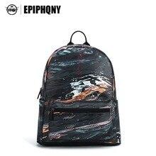 Epiphqny бренд Для женщин Мода черный рюкзак Rock с модным принтом сумка для школы волна воды в полоску Daypacks подростки cool